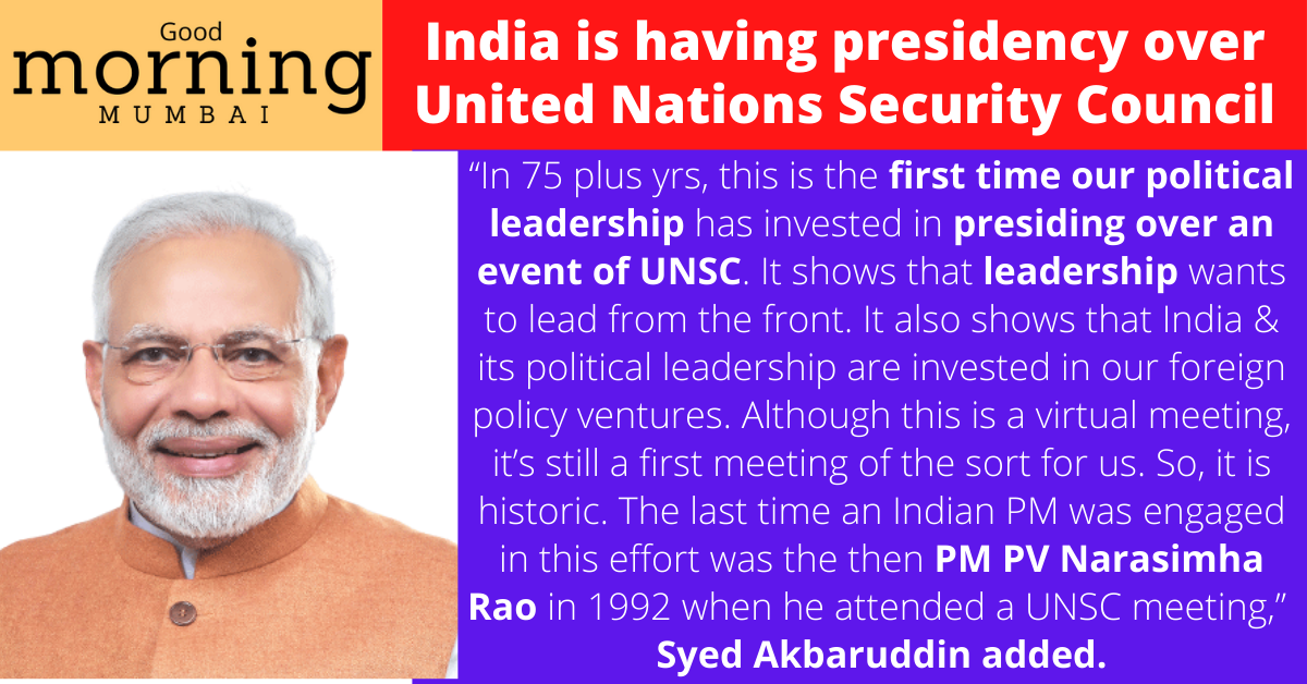 India is having presidency over United Nations Security Council